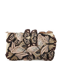 Alice + Olivia Embroidered Butterfly Clutch Bag, Nude