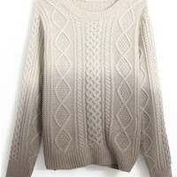 ROMWE | Cable Knit Color Block Grey Jumper, The Latest Street Fashion