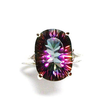 "Sunset quartz, rainbow quartz, quartz ring, cocktail ring, quartz statement, green pink purple, s 6 3/4  ""Rainbow Mist"""