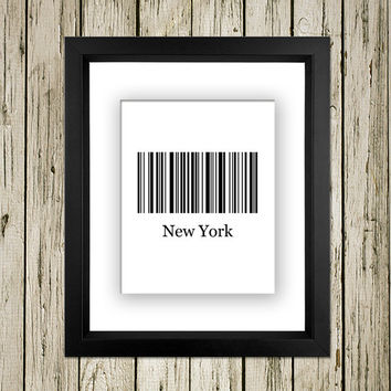New York City Bar Code Sign Printable Instant Download Print Poster City Name Art Typography Home Decor  Wall Decor BC003