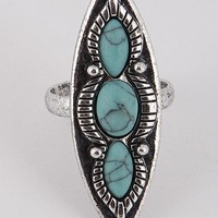 "1.50"" silver turquoise open cuff adjustable boho ring one size"
