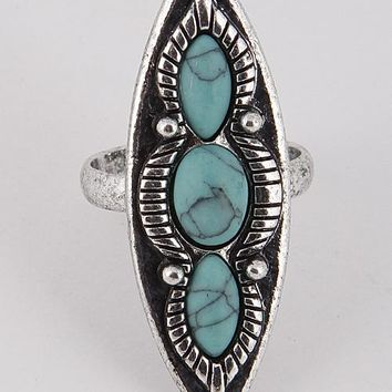 """1.50"""" silver turquoise open cuff adjustable boho ring one size"""