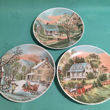 Currier and Ives Plates/The American Homestead/Four Seasons/Early Americana/Summer, Winter and Spring/Made in Japan/Decorative Wall Plates