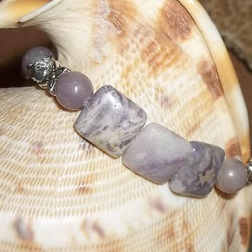 Natural Amethyst with Clear Swarovski Crystal and Tibetan Silver Beaded Accents Hand Crafted Stretch Bracelet