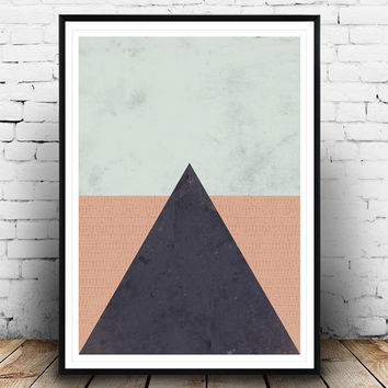 Minimalist print, Wall art, Triangle print, Simple art, Watercolor print, Abstract art, Geometrical print, Triangle poster, Nordic style,