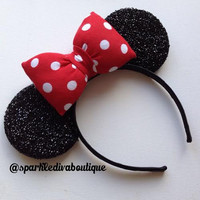 Red White Polka Dot Bow Sparkle Minnie Ears