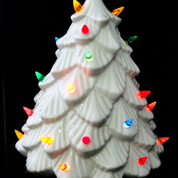 Vintage Lighted White Ceramic Christmas Tree with Original Box - Pristine - Lifetime by Lenape Products