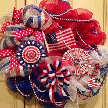 Patriotic American Flag Wreath, Fourth of July Wreath, Military Wreath, Patriotc Wreath, American Flag, Memorial Day Wreath,