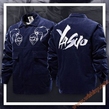 High Quality LOL Yasuo Jackets LOL Hero S7 Winter Fleece Blue Coats For Men Boys