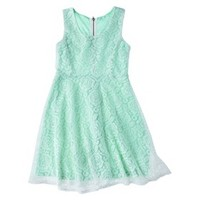 Girls' Floral Lace Overlay Dress