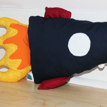 Flaming Rocket Spaceship decorative pillow, Plush, Softie, Cushion, Nursery decor, Baby shower gift, Baby toy, Toddler, Children birthday