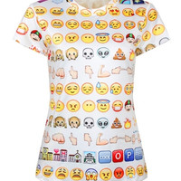 New Summer T-Shirt Women Emoji T-shirt Women's Clothing Casual T-shirts O-Neck Print Short Sleeve Tees Tops = 1956564932