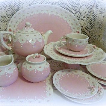 Complete Rose Petal Tea Set USA Handcrafted Ceramics