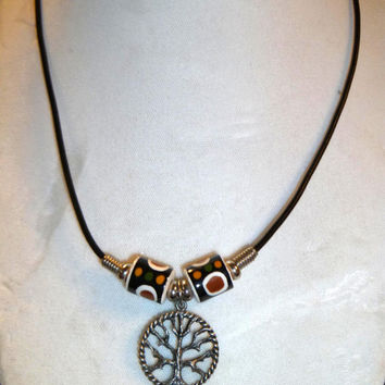 Pewter Tree Of Life with Glazed Clay Unisex Leather Cord Necklace