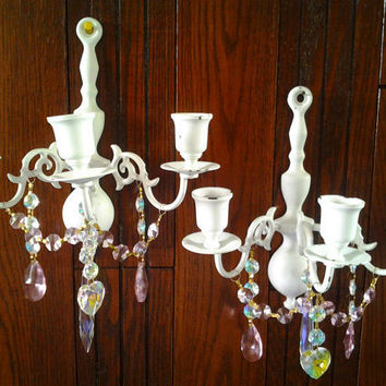 2 Shabby Chic Candle Wall Sconces Cottage Style Pale Aqua with Light Pink and Iridescent Chandelier Crystals Candle Holder
