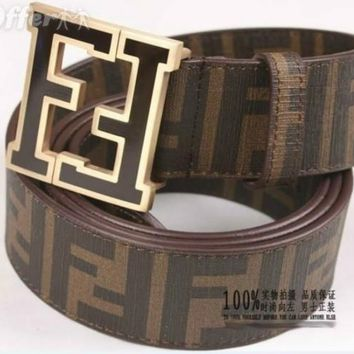 FENDI CLASSIC BUCKLE MEN'S AND WOMEN'S LEATHER BELT