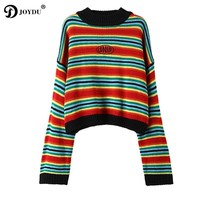 JOYDU UNIF Pullover 2017 New Sweet Kawaii Rainbow Stripes Crop Top Winter Sweater Women Loose Preppy Style Knit Oversized Jumper