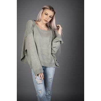 Dusty Sage Front Pocket Sweater