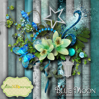 Blue Moon - Digital Scrapbook Kit - Printable Backgrounds - 12x12 inch Papers - FREE Quickpage Layout