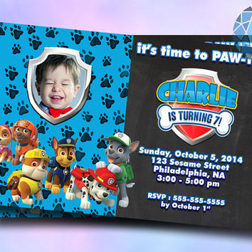 Paw Pawty Patrol Chalkboard Photo Design For Digital File, Birthday Invitation by SaphireInvitations