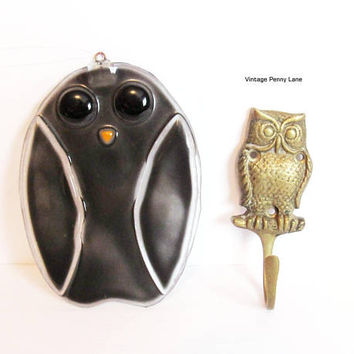 Vintage Owl Decor, Brass Wall Hook, Stained Glass Sun Catcher