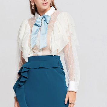 Salma Mesh Ruffle Blouse Discover the latest fashion trends online at storets.com
