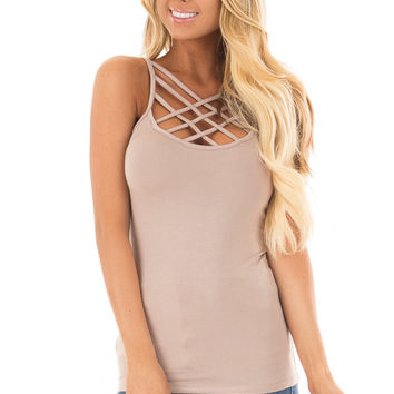 Cocoa Reversible Criss Cross Tank Top