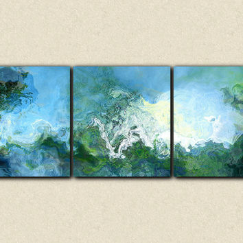 "Oversized triptych abstract expressionism stretched canvas print, 34x90 giclee in blue, ""Rising"""