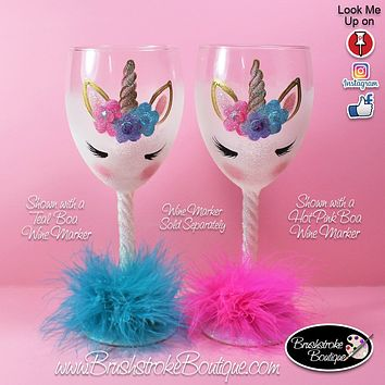 Hand Painted Wine Glass - White Unicorn Face - Original Designs by Cathy Kraemer