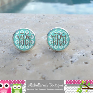 Shabby Chic Tiffany Blue Quaterfoil Monogram Earrings, Monogram Jewelry, Monogram Accessories, Monogram Studs, Monogram Leverbacks, Gifts