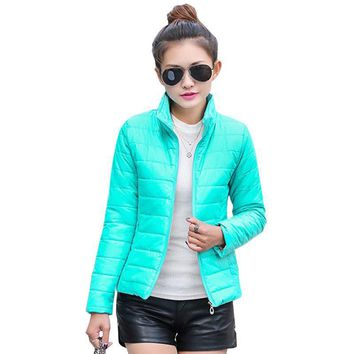 2016 New brand new women's jacket to keep warm in winter padded silk, ladies fashion casual Slim padded winter jacket