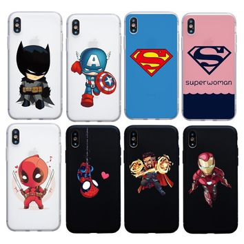 Cartoon Superman Woman case for iphone 6 6s plus 7 8 Plus 5s SE X XS Max XR soft cover Deadpool Iron man Doctor Strange case