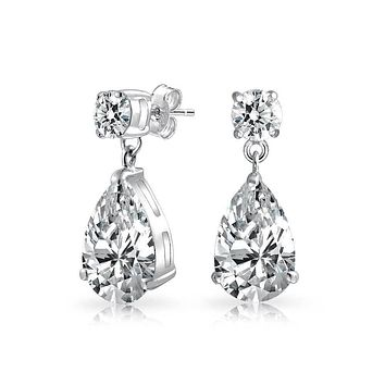 Bridal Solitaire Teardrop CZ Dangle Earrings For Prom Sterling Silver