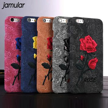 JAMULAR Handmade Chic Elegant Love Rose Embroidery Case For iphone 8 7 Plus 6 6s Plus Flower Cover Phone Back Cover Cases Fundas