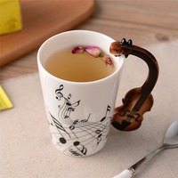 Ceramic Musical Instrument Handle Mug For Coffee, Milk, Tea, Juice