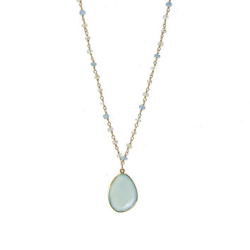 Pearl Apatite and Seafoam Chalcedony Wirewrapped Bead Necklaces - Layered Gemstone Necklace