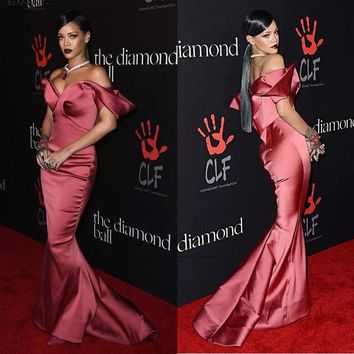 Arrival Sexy Mermaid Satin Celebrity Dresses Off-Shoulder Floor Length Sleeveless Red Carpet Gown