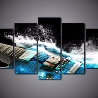 Abstract Blue Electric Guitar 5-Piece Wall Art Canvas