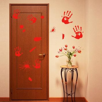 Halloween Bloody Hand Foot Print Sticker Wall Decoration Ornament Party Supplies Home