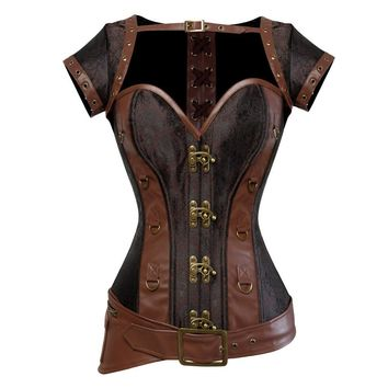 Steampunk Corset Spiral Steel Boned Brown Leather Waist Gothic Bustier with Jacket halter Lingerie hot Costumes