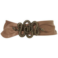 Taup Snake Buckle Leather Sash