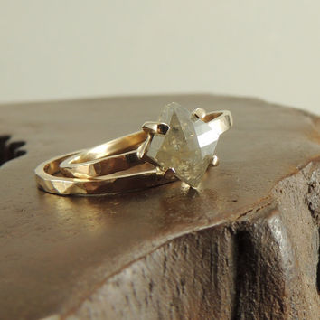 Rose Cut Diamond 14k Yellow Gold Ring Prong by PointNoPointStudio