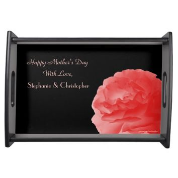 Custom Mother's Day Serving Tray Coral Pink Rose