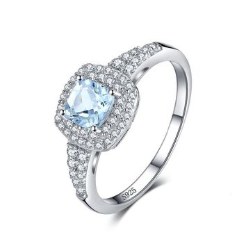 Cushion Cut 0.9ct Natural Aquamarine Halo Engagement Ring