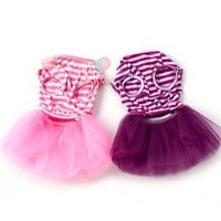 Small Dog Clothes Cute Pet Dog Puppy Stripe Bow Lace Tutu Dress