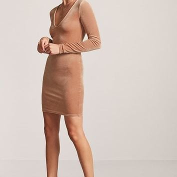 Velvet V-Neck Mini Dress - Women - New Arrivals - 2000196165 - Forever 21 Canada English