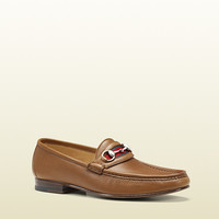 men's moccasin with horsebit and signature web detail. 157440ALQ102558