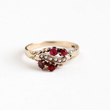Antique 10k Rosy Yellow Gold Garnet & Ruby Ring - Size 7 1/4 Vintage Victorian Seed Pearl and Red Pink Gem Heitz Bros HB Fine Jewelry