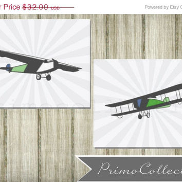 Nursery Wall Art Prints / vintage airplanes / set of 2 / 8x10 inch / baby boy / boy's room decor / retro planes / travel