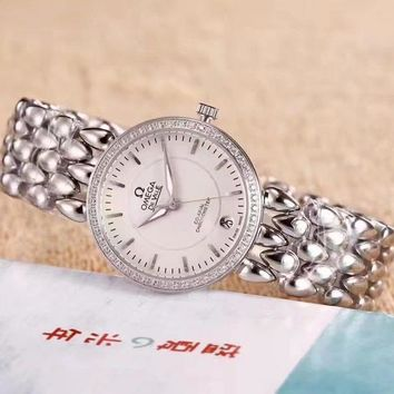 PEAP O045 Omega De Ville Fashion Simple Steel Strap Women Watches White